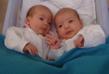 Eva and Natasha - We love twins, they are extra special! Natasha and Eva were born on the 1st of June 09. Natasha was 2.4kg and Eva was 2.2kg. What a clever mum! Boy, does dad have his hands full!
